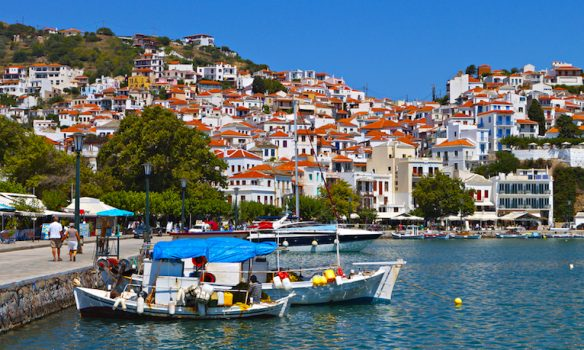 Skopelos island in Greece. View of the old port